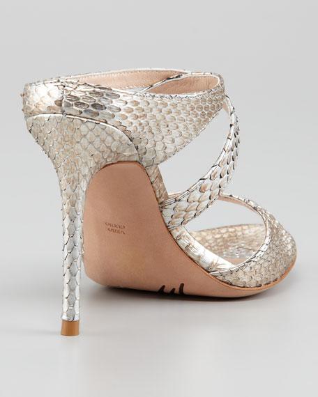 Orlanda Snakeskin Crisscross Sandal, Steel