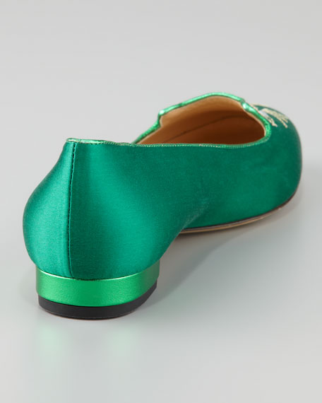 Kitty Satin Flat Slipper, Green