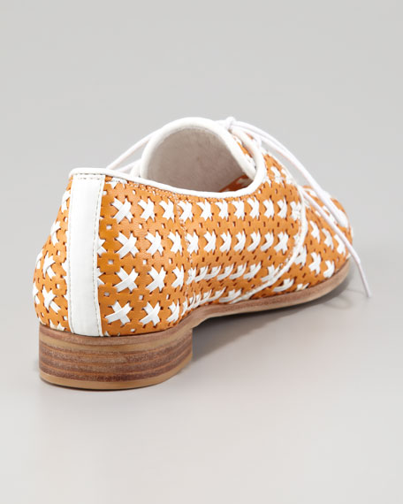 Mikhail Lace Oxford Flat, Orange/White