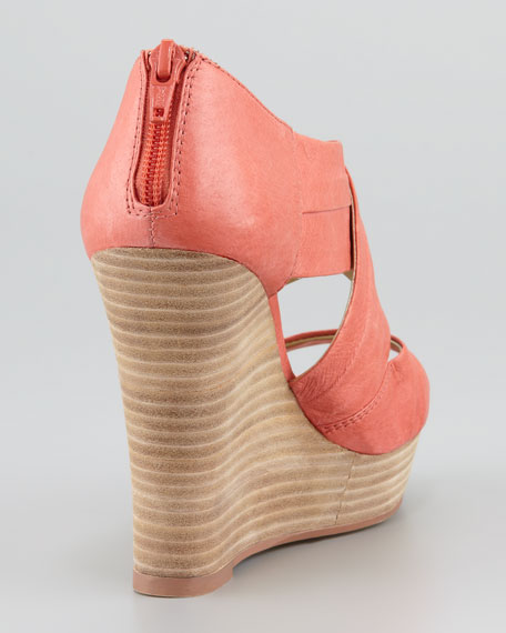 Risky Business Wedge Sandal, Orange