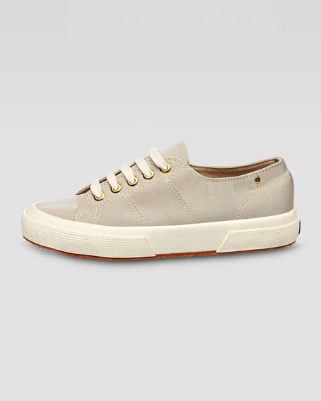 Low-Top Faille Lace-Up Sneaker, Truffle Nude