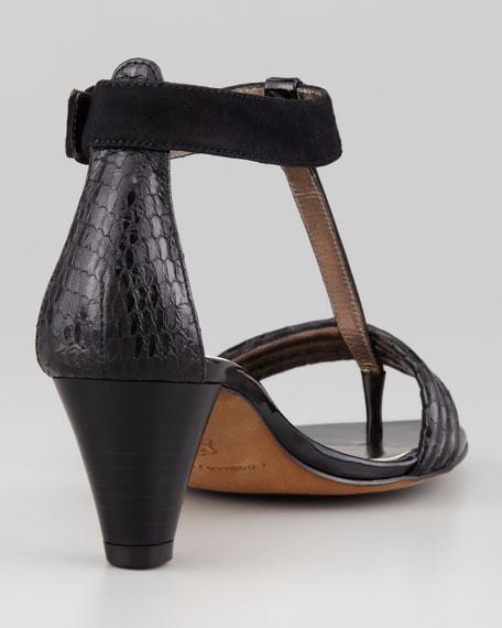 Viva Mixed-Leather T-Strap Sandal