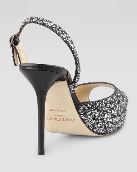 Brandy Glittered Peep-Toe Sandal