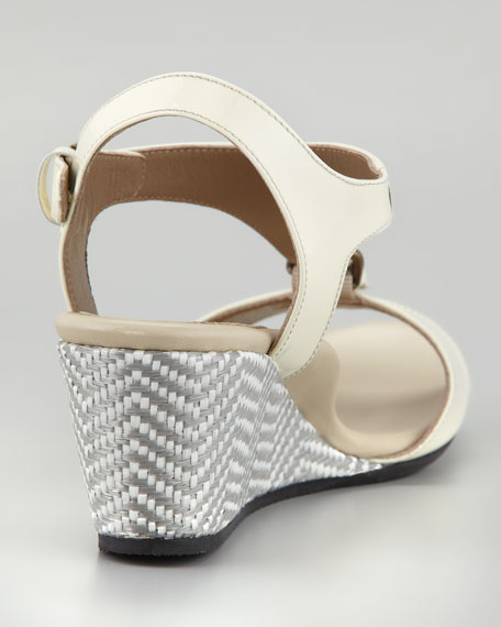 Lola T-Strap Wedge, Ivory
