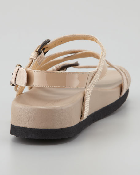 Vera Patent Crisscross Footbed Sandal, Sand
