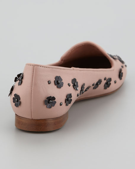Floral Pailettes Smoking Slipper, Cameo/Black