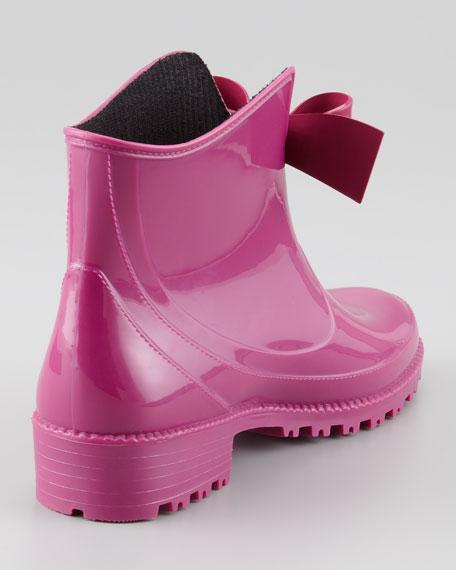 Bow-Front Short Rain Boot, Raspberry