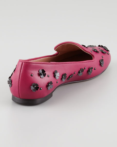 Flower Paillette Smoking Slipper, Raspberry