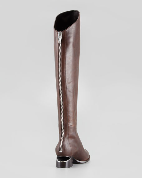 Sigrid Back-Zip Knee Boot, Brown