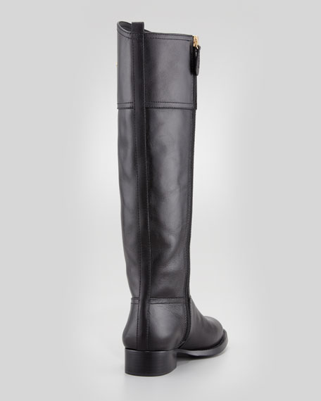 Kiernan Leather Logo Riding Boot, Black