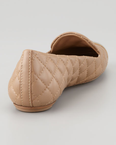 Kaitlin Quilted Cap-Toe Smoking Slipper, Clay Beige