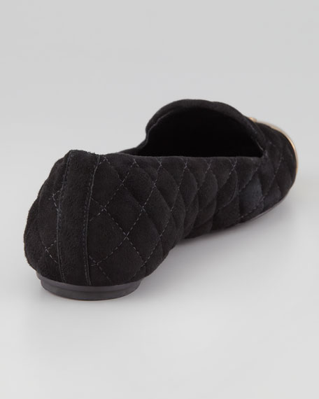 Kaitlin Quilted Suede Smoking Slipper, Black