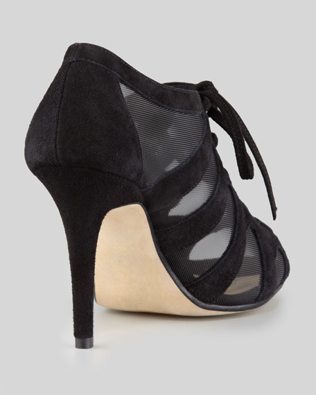suede-mesh lace-up bootie