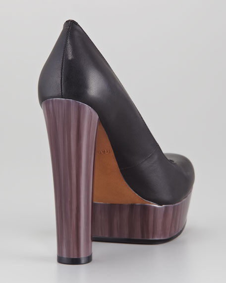 Leila Leather and Painted Heel Platform Pump