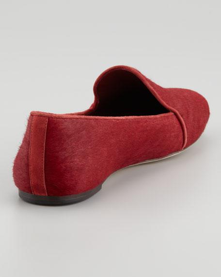 Claudelle Calf Hair Smoking Slipper, Red