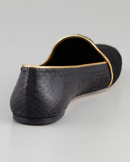 Claudelle Calf Hair & Snakeskin Smoking Slipper, Black/Gold