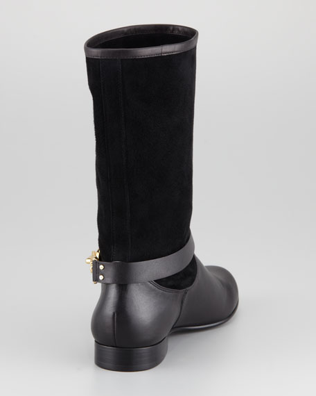 Slouchy Suede Boot, Black