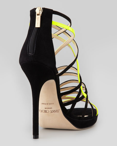 Myth Strappy Suede Sandal, Black/Yellow