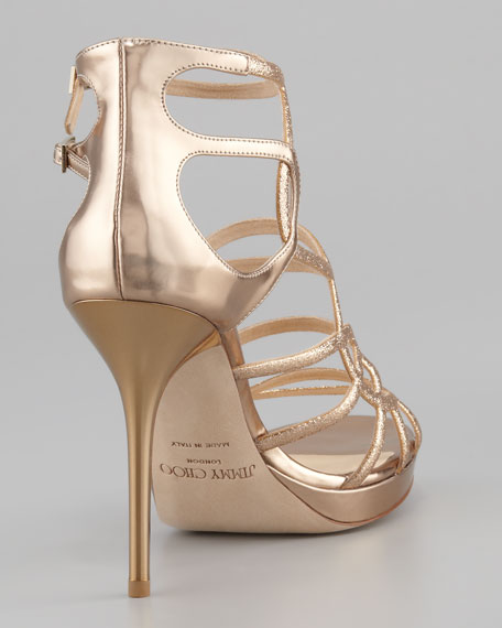 Bunting Glittered Metallic Sandal, Nude Mix