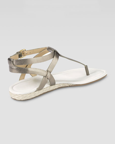 Grove Metallic Demi-Wedge Sandal, Gunsmoke