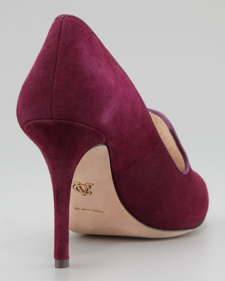 Riley Suede Peep Toe Pump, Plumberry