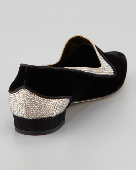 Crystallized Velvet Smoking Slipper, Black