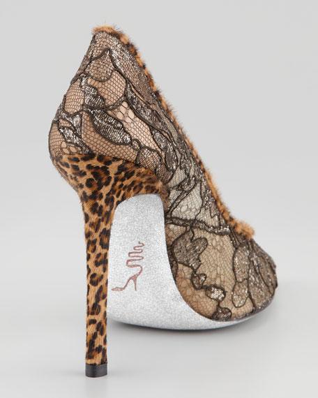 Leopard-Print Trimmed Lace Pump