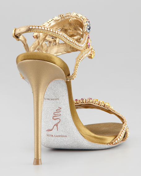 Crystal-Embellished Ankle-Band Sandal