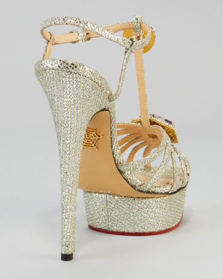 Charlotte Olympia Leading Lady Glitter Platform Sandal, Silver