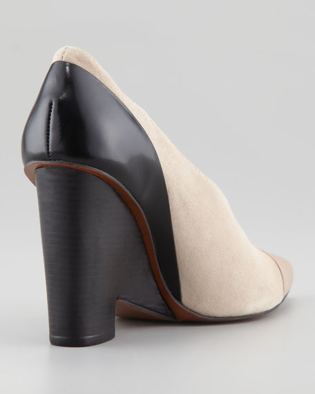 Ynez Pointed-Toe Bootie, Tan/Black