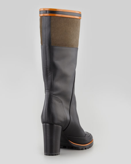 Sporty Mid-Calf Boot, Black/Olive/Orange