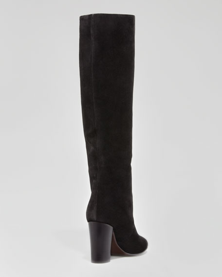 Suede Pull-On Knee Boot, Black