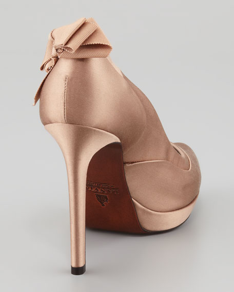 Satin Bow-Back Platform Pump