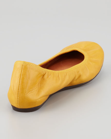 Classic Leather Ballerina Flat, Mustard