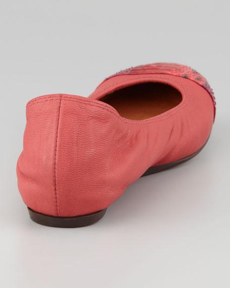 Snakeskin Cap Toe Ballerina Flat, Red