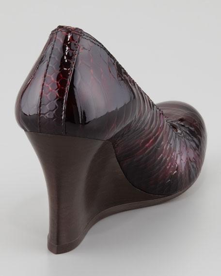 Python-Print Ballerina Wedge Pump, Plum