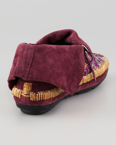 Mallory Beaded Moccasin, Purple Potion
