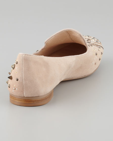 Avalon Studded Embroidered Suede Slipper