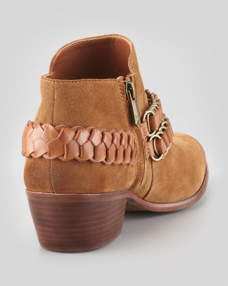 Posey Chain-Trim Bootie, Whiskey/Saddle