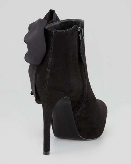Bow-Ankle Suede Bootie, Black