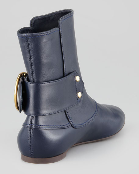 Twin-Skull-Buckle Flat Ankle Boot, Navy