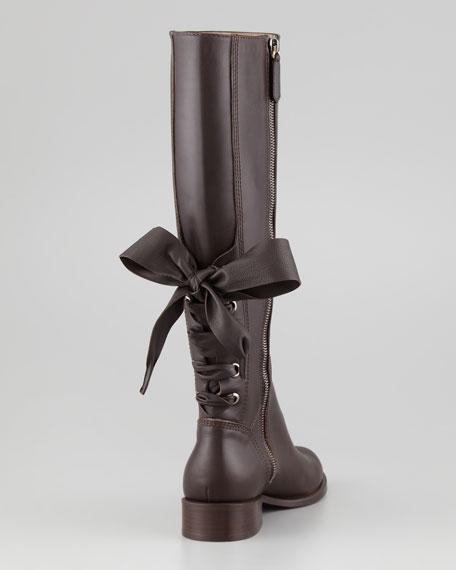Ascot Ribbon Lace-Up Riding Boot