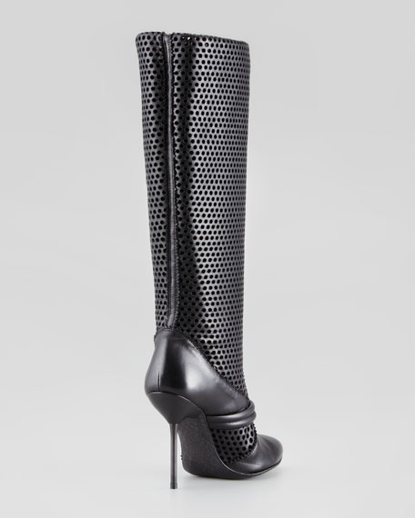 Darsy Perforated Tall Boot, Black