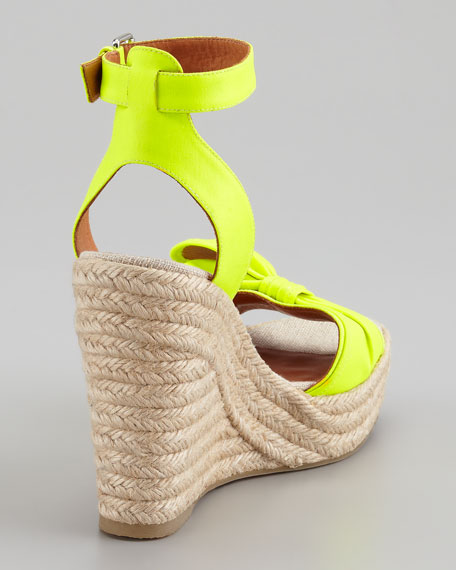 Pretty Knot Neon Canvas Wedge Sandal, Yellow