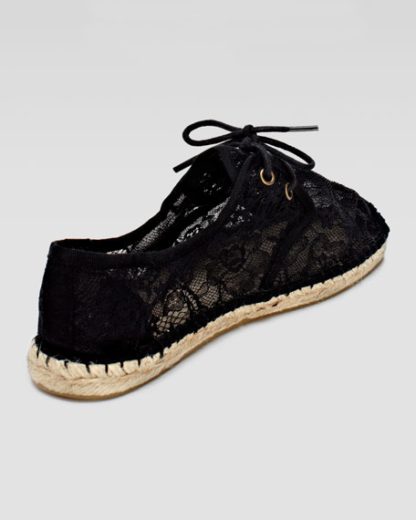 Lace-Up Lace Espadrille Sneaker, Black
