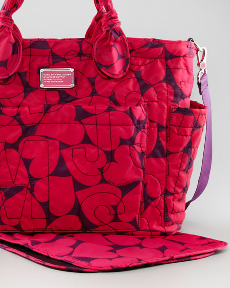 Heart-Print Pretty Eliza Baby Bag, Iris