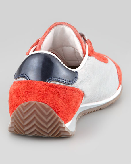 Color Suede Leather Trim Sneaker, Red-Orange, Toddler