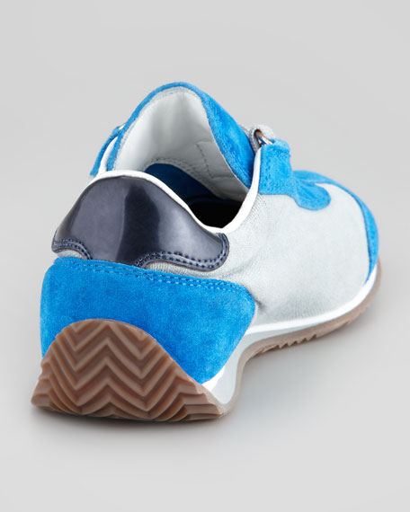 Color Suede Leather Trim Sneaker, Blue, Toddler