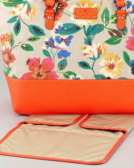 harmony floral-print canvas diaper bag, orange multi