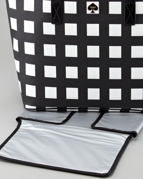kate spade new york harmony check diaper bag, black/cream